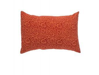 BLANC D'IVOIRE - taie elisa mandarine - Coussin Rectangulaire