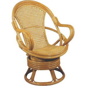 Aubry-Gaspard - fauteuil miel pivotant en rotin et cannage 70x73x9 - Fauteuil De Jardin