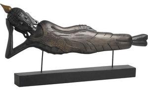 Aubry-Gaspard - statue bouddha couch� avec support en bois 99x11.5 - Statuette