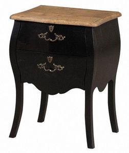 INWOOD - chevet baroque noir style louis xv 45x36x62cm - Table De Chevet