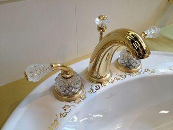 Cristal Et Bronze - millesime dome manettes - Mélangeur Lavabo 3 Trous