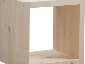 BARCLER - cube de rangement en bois brut 43x35x42.5cm - Bout De Canapé