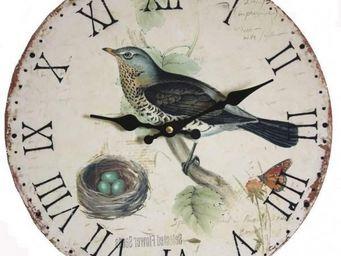L'HERITIER DU TEMPS - horloge murale bois oiseau bleu ø34cm - Horloge Murale