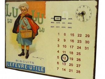 L'HERITIER DU TEMPS - calendrier-pendule plaque pub biscuits lu - Horloge Murale