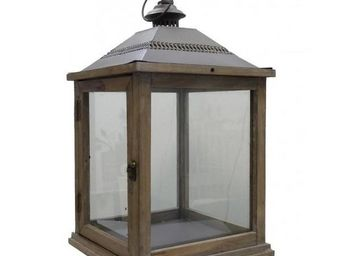 L'HERITIER DU TEMPS - lampe tempête bois fer marron - Lanterne D'extérieur