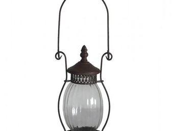 L'HERITIER DU TEMPS - lanterne ancienne fer et verre 35cm - Lanterne D'extérieur
