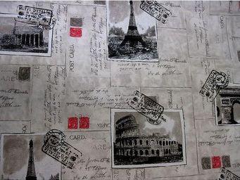 Le Quartier des Tissus - tissu imprime carte postale de paris - Tissu Imprimé