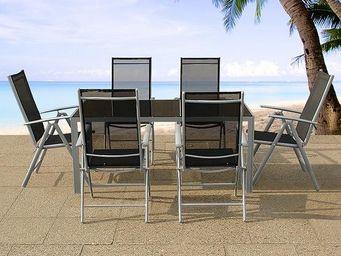 BELIANI - table 160 cm, 6 chaises - Salle À Manger De Jardin