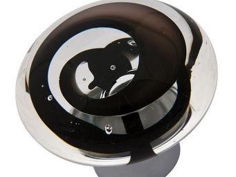 Les Verreries De Brehat - tubes de bulles disque noir - Bouton De Porte