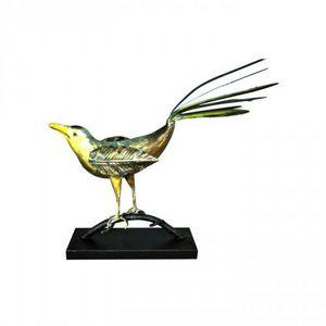 Demeure et Jardin - oiseau en fer forgé au bec jaune - Sculpture Animalière