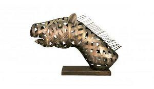 Demeure et Jardin - tête de cheval tressée en fer forgé - Sculpture Animalière