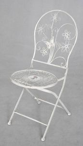 Demeure et Jardin - chaise medaillon fleuri fer forg� - Chaise De Jardin