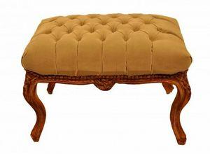Demeure et Jardin - tabouret capitonné suedine beige grand modèle - Tabouret