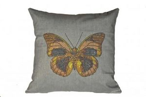 Demeure et Jardin - coussin papillon � paillettes - Coussin Carr�