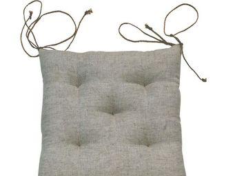 Interior's - galette de chaise beige lin - Galette De Chaise