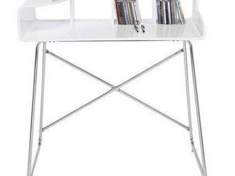 WHITE LABEL - petit bureau studio laqué blanc brillant, pieds ch - Bureau