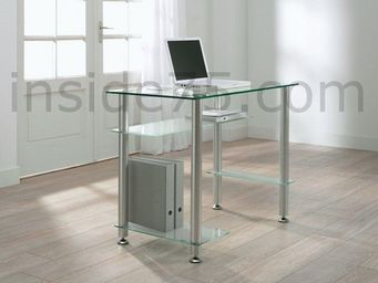 WHITE LABEL - little desk bureau verre transparent 4 plateaux - Bureau