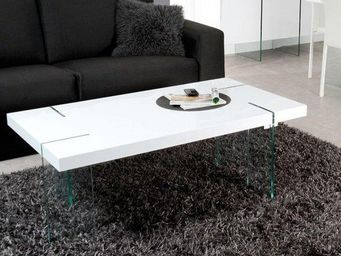 WHITE LABEL - table basse design scoop blanche, pieds en verre. - Table Basse Rectangulaire