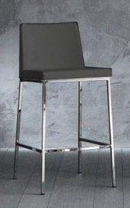 WHITE LABEL - chaise de bar erik en cuir éco gris titane, piétem - Chaise Haute De Bar