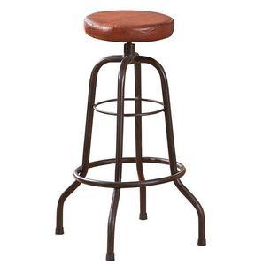 WHITE LABEL - tabouret de bar longo en cuir et acier - Tabouret De Bar
