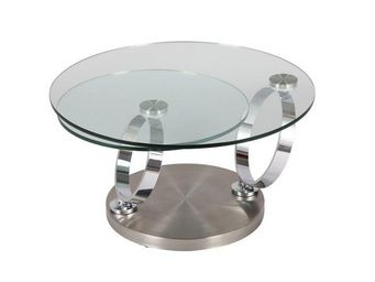 WHITE LABEL - table � plateaux pivotants ring en verre - Table Basse Ronde