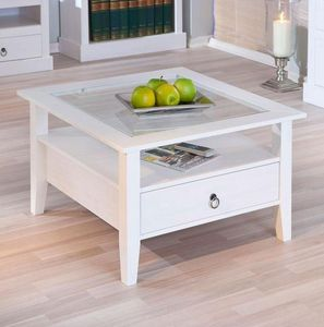 WHITE LABEL - table basse design provence blanche en pin massif  - Table Basse Carrée