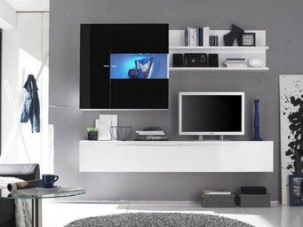 WHITE LABEL - composition murale tv design primera 2 blanc et no - Meuble Tv Hi Fi