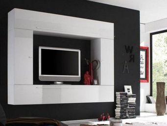 WHITE LABEL - composition murale tv design primera 5 laque blanc - Meuble Tv Hi Fi