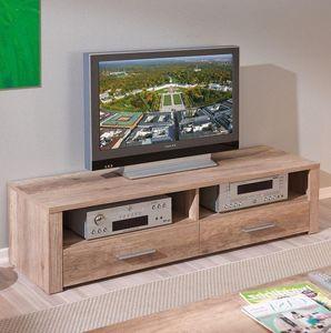 WHITE LABEL - meuble tv absoluto 2 tiroirs et 2 niches en bois c - Meuble Tv Hi Fi