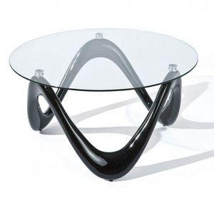 WHITE LABEL - table basse design valentine en verre et pi�tement - Table Basse Ronde