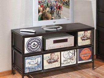 WHITE LABEL - meuble tv vintage virando en acier - Meuble Tv Hi Fi