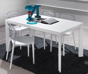 WHITE LABEL - table repas extensible tecno 130 x 80 cm en polymè - Table De Repas Rectangulaire