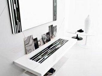 WHITE LABEL - console laque blanc design 2 plateaux - Console
