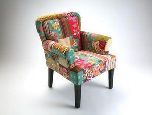 WHITE LABEL - rio fauteuil patchwork avec accoudoirs - Fauteuil