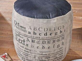 WHITE LABEL - pouf colona en coton gris et cuir noir - Pouf