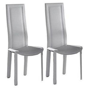 WHITE LABEL - lot de 2 chaises bond en simili cuir blanc - Chaise