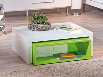WHITE LABEL - table basse modulable design zola blanche et verte - Table Basse Rectangulaire