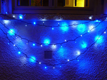 FEERIE SOLAIRE - guirlande solaire 30 leds blanches 30 leds bleues  - Guirlande Lumineuse