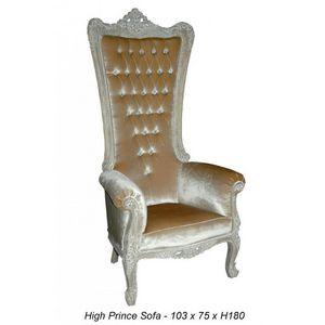DECO PRIVE - fauteuil trone royal capitonne prince haut ceruse  - Fauteuil