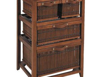 Aubry-Gaspard - commode en pin en bambou teint�s 4 tiroirs 52x41x8 - Commode