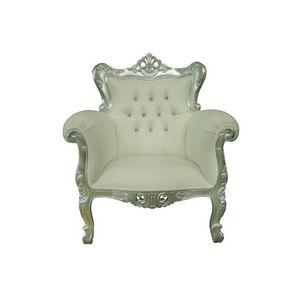 DECO PRIVE - fauteuil baroque capitonne prince blanc - Fauteuil