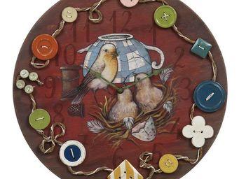 Interior's - horloge oiseaux et boutons - Horloge Murale
