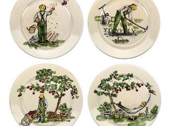 Interior's - coffret de 4 assiettes à dessert histoire de jardi - Assiette À Dessert