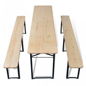 WHITE LABEL - table + 2 bancs pliable avec trou parasol - Table Pique Nique