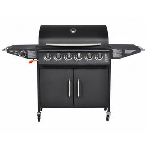 WHITE LABEL - barbecue � gaz 6 br�leurs avec thermom�tre - Barbecue Au Gaz