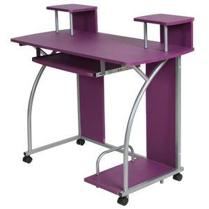WHITE LABEL - bureau enfant meuble chambre violet - Bureau Op�rationnel