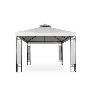 WHITE LABEL - tonnelle de jardin pavillon métal 4x3 blanc - Tonnelle