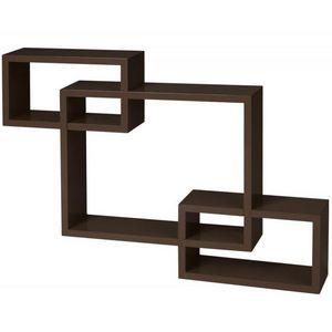WHITE LABEL - étagère murale x3 cube marron - Etagère