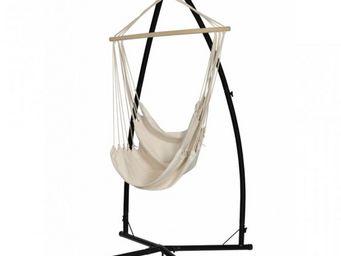 WHITE LABEL - chaise hamac métal et bois - Hamac Chaise