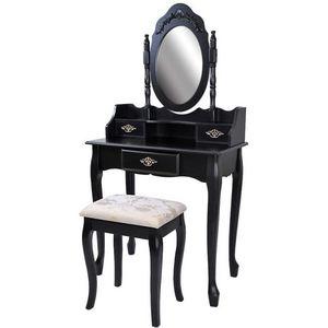WHITE LABEL - coiffeuse bois noir miroir tabouret - Coiffeuse